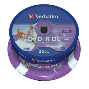 Verbatim DVD+R 8x 8.5GB, Dual Layer, Inkjet Printable, Cakebox 25