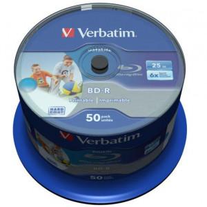 Verbatim Blu-ray schijf, BD-R, Printable, DataLife, 25 GB opslagruimte, snelheid 6x, 50 stuks, cakebox verpakking