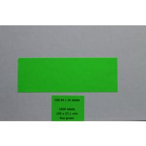 Huismerk etiketten, 1600 stuks, 100 vellen, 105x37,1mm, fluo groen