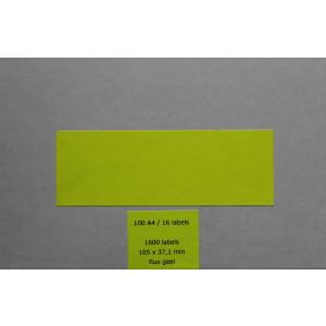 Huismerk etiketten, 1600 stuks, 100 vellen, 105x37,1mm, fluo geel