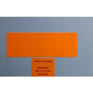 Huismerk etiketten, 1600 stuks, 100 vellen, 105x37,1mm, fluo oranje