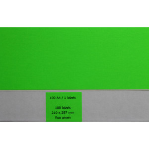 Huismerk etiketten, 100 stuks, 100 vellen, 210x297mm, fluo groen