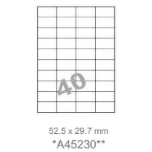 Huismerk klevende labels, 40 per vel, 52,5x29,7mm, wit, afneembaar