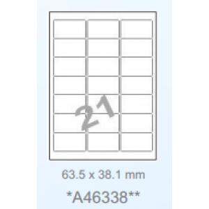 Huismerk klevende labels, 21 per vel, 63,5x38,1mm, helder transparant