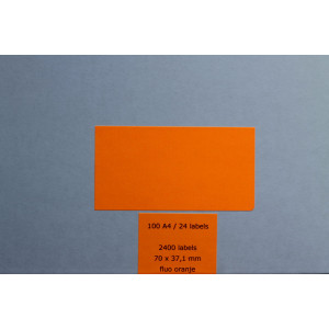 Huismerk etiketten, 2400 stuks, 100 vellen, 70x37,1mm, fluo oranje