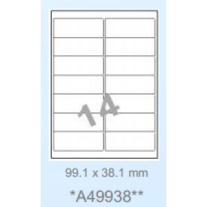 Huismerk klevende labels, 14 per vel, 99,1x38,1mm, wit, afneembaar