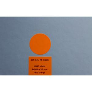 Huismerk etiketten, 4800 stuks, 100 vellen, 32mm, fluo oranje