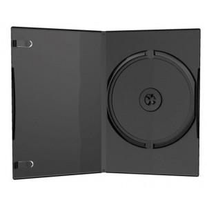 Huismerk DVD box, voor 1 DVD, 7 mm rug (slimline), zwart, 50 stuks (machine packing qualiteit)
