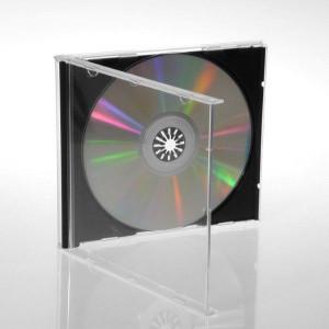 Jewelcase, voor 1 CD, 10.4 mm rug, transparant, zwarte tray, 50 stuks (machine packing kwaliteit)