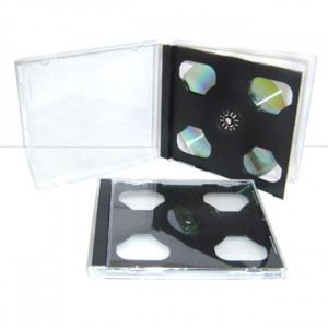 Huismerk jewelcase, voor 2 CD`s, 10.4 mm rug, transparant, zwarte tray, 5 stuks