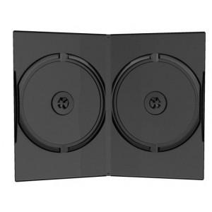Huismerk DVD box, voor 2 DVD`s, 9 mm rug (slimline), zwart, 10 stuks