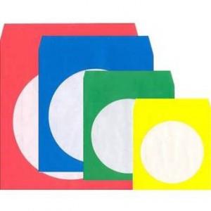 Huismerk papieren hoes (paper sleeves), 4 kleuren: groen/geel/blauw/rood, 100 stuks totaal