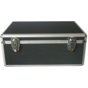 Huismerk CD/DVD DJ Koffer, zwart, voor 1000 schijven, 4 vakken, inclusief hangmapjes