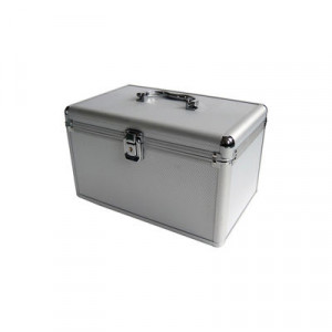 Huismerk CD/DVD DJ koffer, 120 schijven, 1 vak, inclusief hangmapjes kleur / aluminium