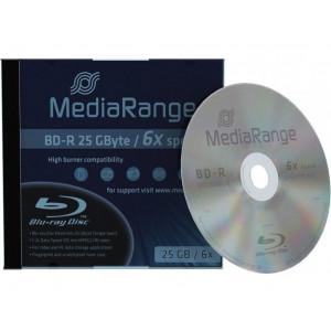 MediaRange, Blu-ray BD-R, 25GB, 6x snelheid, 4 stuks incl. jewelcase