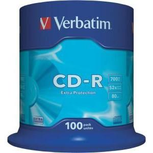 Verbatim CD-R schijven, 700 Mb / 80 minuten opslagruimte, snelheid 52x, 100 stuks, cakebox verpakking, zeer hoge kwaliteit!