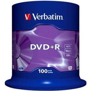 Verbatim DVD+R schijven, 4.7 Gb opslagruimte, snelheid 16x, 100 stuks, cakebox verpakking, zeer hoge kwaliteit!