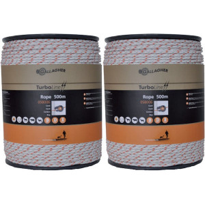 Gallagher Dub.verpak.TurboLine Cord wit - 069798GAL | Soft-touch cord | 2x500 m | 225 kg | 0,1 Ohm Ohm/m | 3 mm | 8 mm