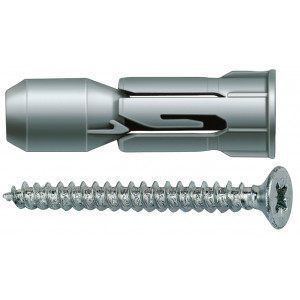 Fischer Plaatplug PD 12 S met spaanplaatschroef - 15938   Inhoud: 25 stuks   Pluglengte: 27 mm   Min. boorgatdiepte: 29 mm   Min. plaatdikte: 9 mm   Spaanplaatschroef: 6 x 50 mm   Opname: PZ3   Boordiameter: 12 mm