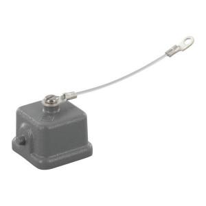 Harting Afdekkap 3A v busconn., metaal - 09200035425   Voor chassisdeel   Han® A   2 nokken   IP44* IP   Met koord   26,5x26,5 mm