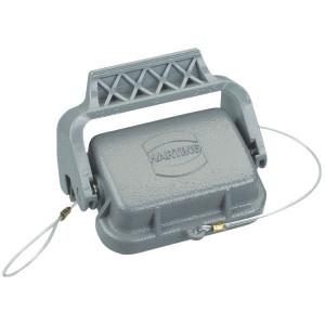 Harting Afdekkap 6B met 1 klemhaak, metaal - 09300065423   Voor huis   Han® B   1 klemhaak   IP65 IP   Aluminium   Met koord   73x46 mm