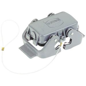 Harting Afdekkap 10B met 2 klemhaken, metaal - 09300105423   Voor chassisdeel   Han® B   2 klemhaken   IP65 / IP67 IP   Aluminium   Met koord   78.5x58 mm
