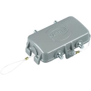 Harting Afdekkap 10B met 4 nokken, metaal - 09300105427   Voor chassisdeel   Han® B   4 nokken   IP65 / IP67 IP   Aluminium   Met koord   78.5x49 mm