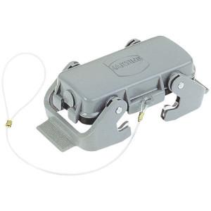 Harting Afdekkap 16B met 2 klemhaken, metaal - 09300165422   Voor huis   Han® B   2 klemhaken   IP65 IP   Aluminium   Met koord   99x58 mm
