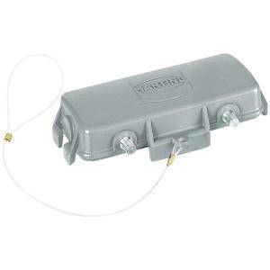 Harting Afdekkap 16B met 4 nokken, metaal - 09300165426   Voor koppelhuis   Han® B   4 nokken   IP65 IP   Aluminium   Met koord   99x49 mm