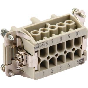 Harting Businzetstuk E 10P bout - 09330102701 | Polycarbonaat | Schroefklem | Han® E | 10 + ⏚ | 0,75 2,5 mm² | Binnenwerk | schroef