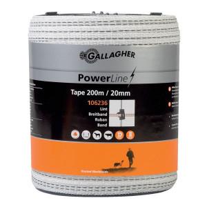 Gallagher PowerLine schriklint 20mm 200 m wit - 106236GAL   Goed zichtbaar