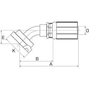 "Gates Pilaar Komatsu 45° DN16-5/8 - 10G10FLK45 | 5/8"" Inch | 16 mm | 106,5 mm | 34,2 mm | 5/8"" Komatsu | 10G10FLK45"