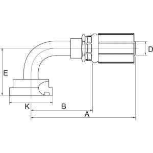 "Gates Pilaar Komatsu 90° DN16-5/8 - 10G10FLK90 | 5/8"" Inch | 17 mm | 61,5 mm | 34,2 mm | 5/8"" Komatsu | 10G10FLK90"