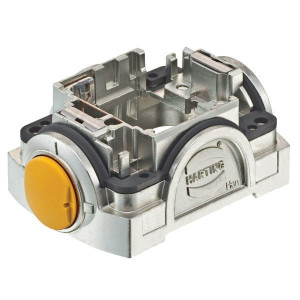 Harting Stekkerhouder Yell. 30 - 11123000100 | Voor 3 modules | Han-Yellock® | Drukknop | 0,14 4 mm² | IP65 / IP67 IP