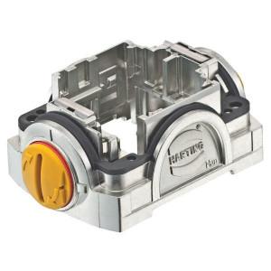 Harting Stekkerhouder Yell. 30 met groefslot - 11123000110 | Voor 3 modules | Han-Yellock® | Drukknop met groef | 0,14 4 mm² | IP65 / IP67 IP