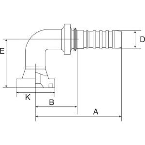 """Gates Pilaar Komatsu 90° DN20-34,2 - 12GS10FLK90055   3/4"""" Inch   20 mm   118 mm   34,2 mm   5/8"""" Komatsu   12GS10FLK90-055"""