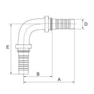 "Gates Pilaar DN20 90° - 12GS12HLE90129   3/4"" Inch   20 mm   128,8 mm   77,8 mm   128,8 mm   12GS12HLE90-129"