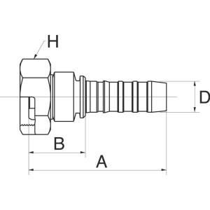 """Gates Pilaar DN20-M36x1,5 - 12GS27FFGX   3/4"""" Inch   20 mm   87,5 mm   36,5 mm   M36 x 1.5 Gaz   12GS27FFGX"""