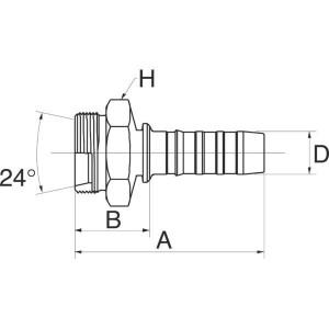 """Gates Pilaar DN20-M36x1,5 - 12GS27MFG   3/4"""" Inch   20 mm   84,5 mm   33,5 mm   M36 x 1.5 Gaz   12GS27MFG"""
