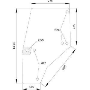 Deurraam - 144950A1KR | Links, Compleet | Helder | 1430 mm | 720 mm | gebogen
