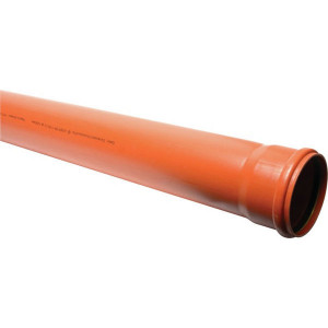 Buis PVC 160mm x 5m - 16150160050 | Drukloos | Inclusief SBR afdichtring | Oranje bruin RAL 8023 | 160 mm | 182 mm