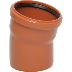 Bocht PVC 125mm x 15° - 16151125015 | Drukloos | Inclusief SBR afdichtring | Oranje bruin RAL 8023 | 15 ° | 125 mm | 144 mm | 3,2 mm