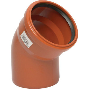 Bocht PVC 125mm x 45° - 16151125045 | Drukloos | Inclusief SBR afdichtring | Oranje bruin RAL 8023 | 45 ° | 125 mm | 144 mm | 3,2 mm