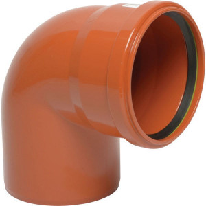 Bocht PVC 125mm x 87° - 16151125087 | Drukloos | Inclusief SBR afdichtring | Oranje bruin RAL 8023 | 87 ° | 125 mm | 144 mm | 3,2 mm | 132 mm