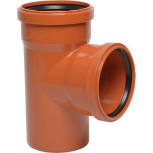 T-Stuk PVC 110/110mm x 87° - 16152110110087 | Drukloos | Oranje bruin RAL 8023 | 110/110 mm | 127/127 mm | 66/66 mm | 3.2/3.2 mm | 87 ° | 197 mm