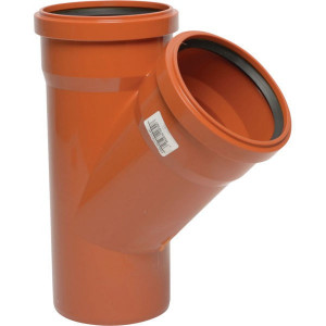Y-stuk PVC 125/110mm x 45° - 16152125110045 | Drukloos | Oranje bruin RAL 8023 | 125/110 mm | 144/127 mm | 68/66 mm | 3.2/3.2 mm | 45 ° | 226 mm | 144 mm | 141 mm