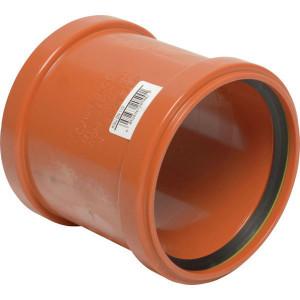 Overschuifsok PVC 110mm - 16153110000 | Drukloos | Oranje bruin RAL 8023 | 125 mm | 110 mm | 127 mm | 3,2 mm