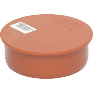 Eindplug PVC 110mm - 16154110000 | Drukloos | Oranje bruin RAL 8023 | 110 mm