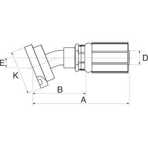 "Gates Pilaar DN25 + 1"" flens 30° - 16G16FL30M | 1"" Inch | 25 mm | 144,5 mm | 87,7 mm | 44,5 mm | 16G16FL30M"