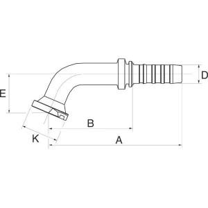 Gates Pilaar DN25 + 47,6 flens 90° - 16GS16FLH67M | 16GS16FLH67M